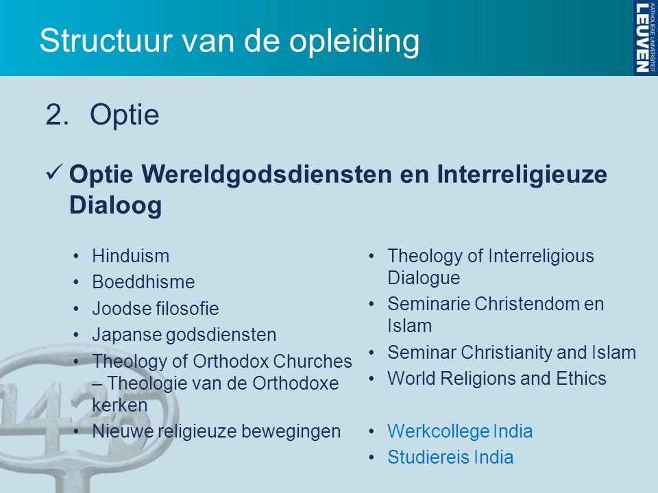 Optie Wereldgodsdiensten en Interreligieuze Dialoog Theology of Interreligious Dialogue Seminarie Christendom en Islam Seminar Christianity and Islam