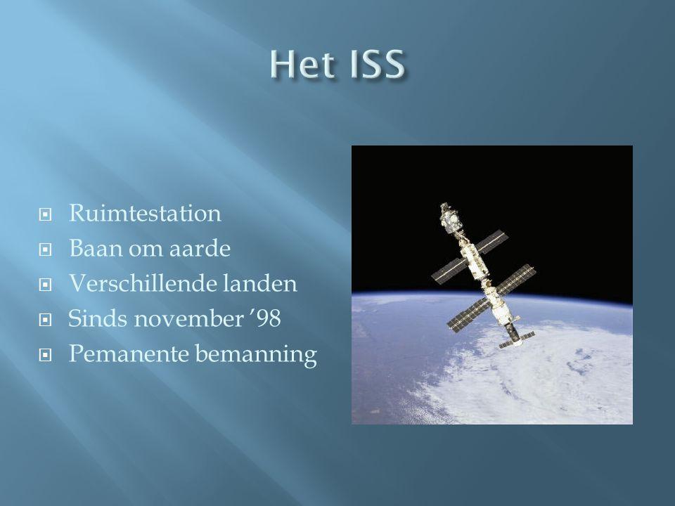  Ruimtestation  Baan om aarde  Verschillende landen  Sinds november '98  Pemanente bemanning