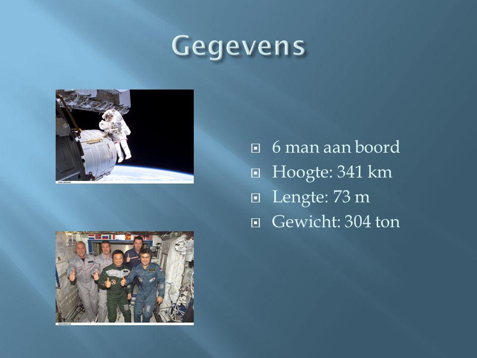  6 man aan boord  Hoogte: 341 km  Lengte: 73 m  Gewicht: 304 ton