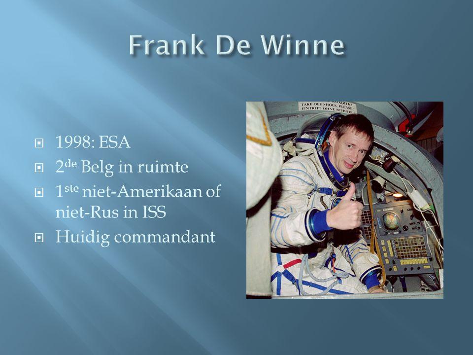  1998: ESA  2 de Belg in ruimte  1 ste niet-Amerikaan of niet-Rus in ISS  Huidig commandant