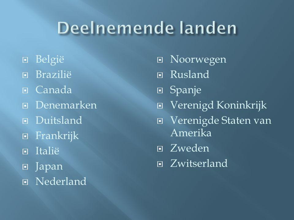  België  Brazilië  Canada  Denemarken  Duitsland  Frankrijk  Italië  Japan  Nederland  Noorwegen  Rusland  Spanje  Verenigd Koninkrijk  Verenigde Staten van Amerika  Zweden  Zwitserland