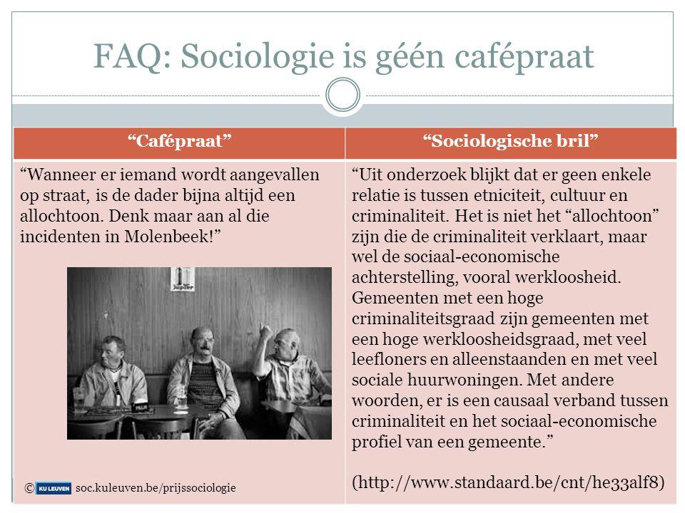 """FAQ: Sociologie is géén cafépraat """"Cafépraat""""""""Sociologische bril"""" """"Wanneer er iemand wordt aangevallen op straat, is de dader bijna altijd een allocht"""
