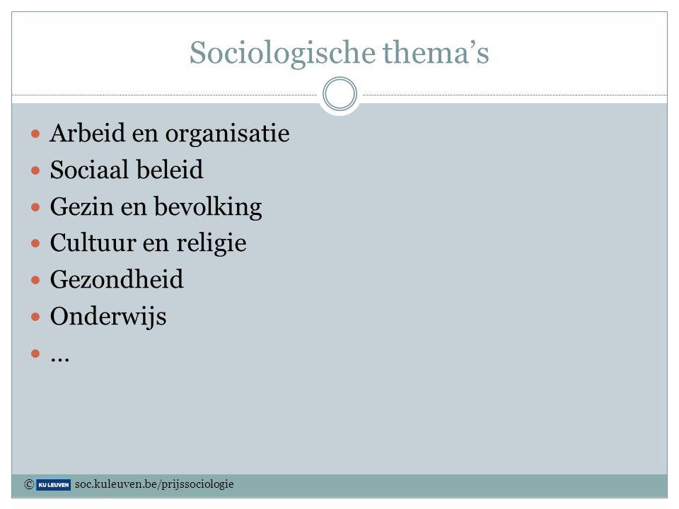 Sociologische thema's Arbeid en organisatie Sociaal beleid Gezin en bevolking Cultuur en religie Gezondheid Onderwijs … © soc.kuleuven.be/prijssociolo