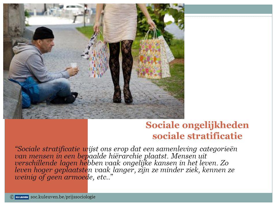 """Sociale ongelijkheden sociale stratificatie """"Sociale stratificatie wijst ons erop dat een samenleving categorieën van mensen in een bepaalde hiërarchi"""