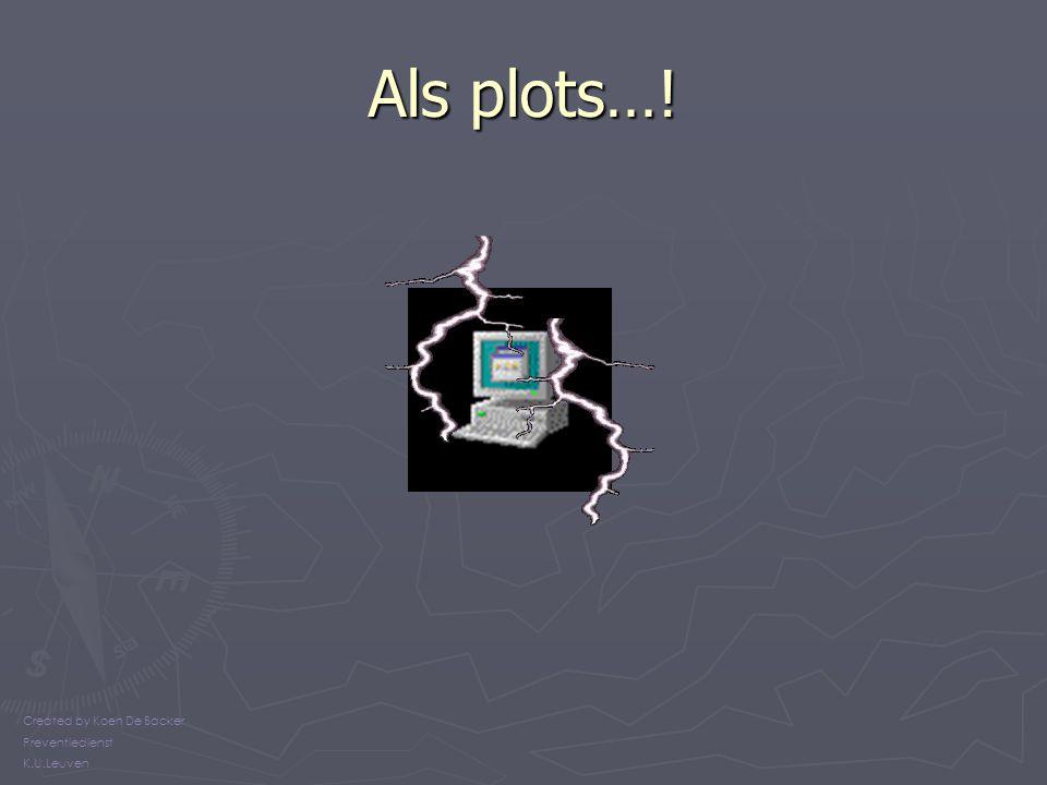 Als plots…! Created by Koen De Backer Preventiedienst K.U.Leuven