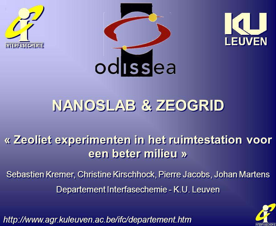 NANOSLAB & ZEOGRID « Zeoliet experimenten in het ruimtestation voor een beter milieu » Sebastien Kremer, Christine Kirschhock, Pierre Jacobs, Johan Ma