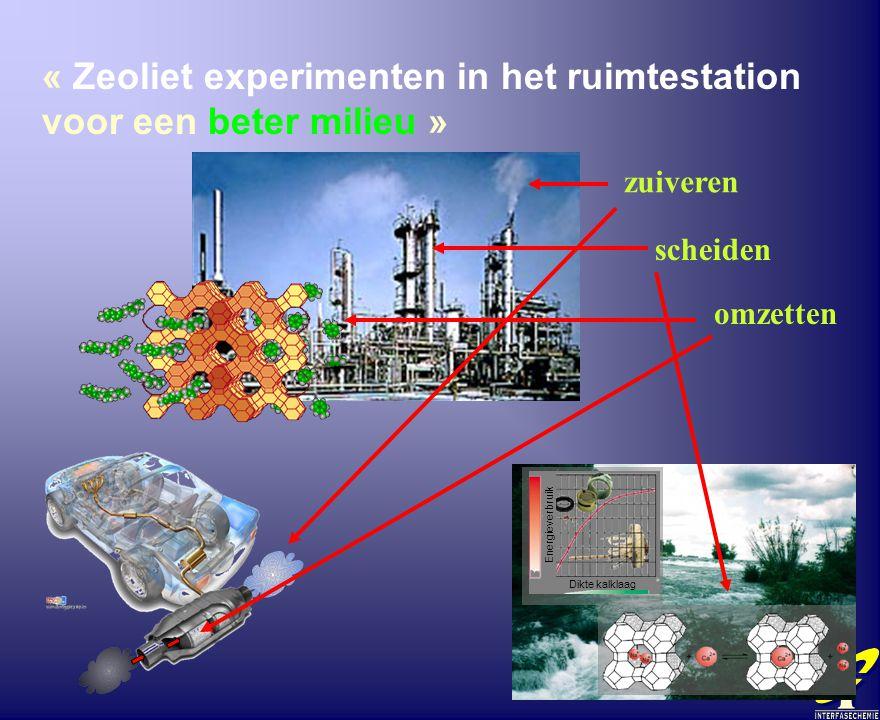 « Zeoliet experimenten in het ruimtestation voor een beter milieu » Dikte kalklaag Energieverbruik zuiveren scheiden omzetten