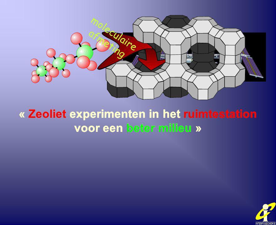 « Zeoliet experimenten in het ruimtestation voor een beter milieu » moleculaire afmeting « Zeoliet experimenten in het ruimtestation voor een beter mi