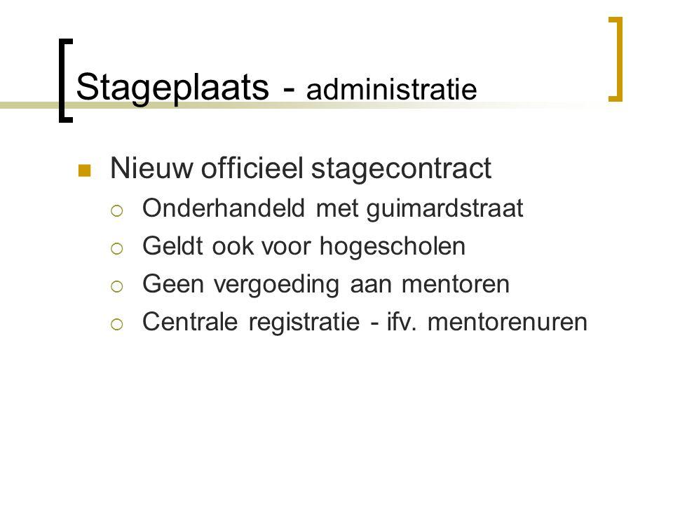 Stageplaats - administratie Nieuw officieel stagecontract  Onderhandeld met guimardstraat  Geldt ook voor hogescholen  Geen vergoeding aan mentoren  Centrale registratie - ifv.