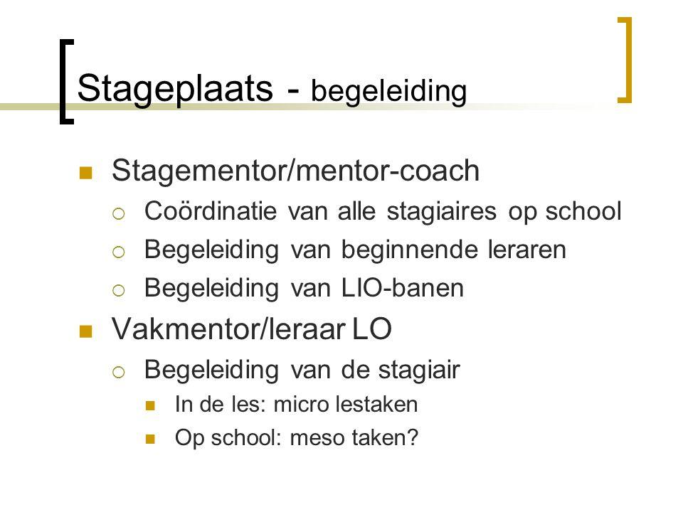 Stageplaats - begeleiding Stagementor/mentor-coach  Coördinatie van alle stagiaires op school  Begeleiding van beginnende leraren  Begeleiding van
