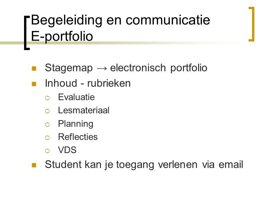 Begeleiding en communicatie E-portfolio Stagemap → electronisch portfolio Inhoud - rubrieken  Evaluatie  Lesmateriaal  Planning  Reflecties  VDS Student kan je toegang verlenen via email
