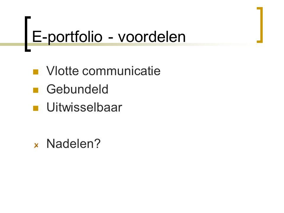 E-portfolio - voordelen Vlotte communicatie Gebundeld Uitwisselbaar Nadelen