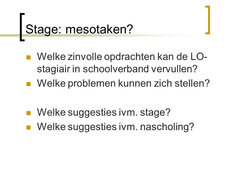 Stage: mesotaken? Welke zinvolle opdrachten kan de LO- stagiair in schoolverband vervullen? Welke problemen kunnen zich stellen? Welke suggesties ivm.