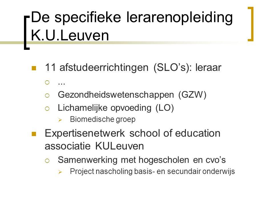 De specifieke lerarenopleiding K.U.Leuven 11 afstudeerrichtingen (SLO's): leraar ...  Gezondheidswetenschappen (GZW)  Lichamelijke opvoeding (LO) 