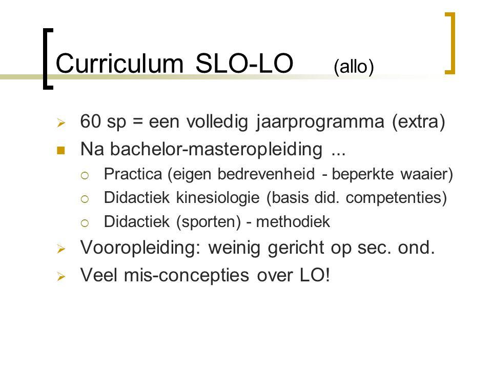 Curriculum SLO-LO (allo)  60 sp = een volledig jaarprogramma (extra) Na bachelor-masteropleiding...  Practica (eigen bedrevenheid - beperkte waaier)