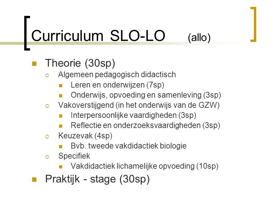 Curriculum SLO-LO (allo) Theorie (30sp)  Algemeen pedagogisch didactisch Leren en onderwijzen (7sp) Onderwijs, opvoeding en samenleving (3sp)  Vakoverstijgend (in het onderwijs van de GZW) Interpersoonlijke vaardigheden (3sp) Reflectie en onderzoeksvaardigheden (3sp)  Keuzevak (4sp) Bvb.