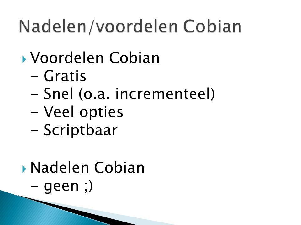  Voordelen Cobian - Gratis - Snel (o.a.