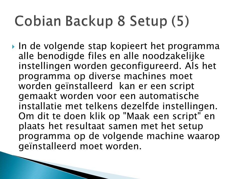  In de volgende stap kopieert het programma alle benodigde files en alle noodzakelijke instellingen worden geconfigureerd. Als het programma op diver