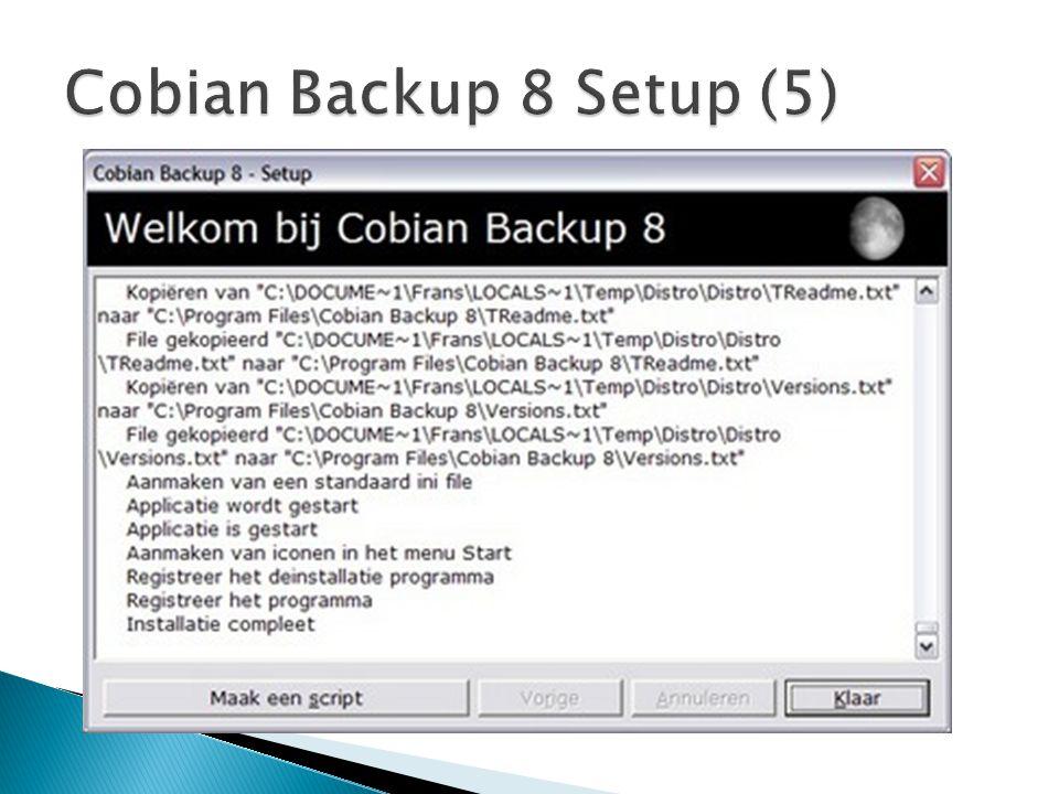  Je hebt een logboek beschikbaar om te kijken of de backup gelukt is.