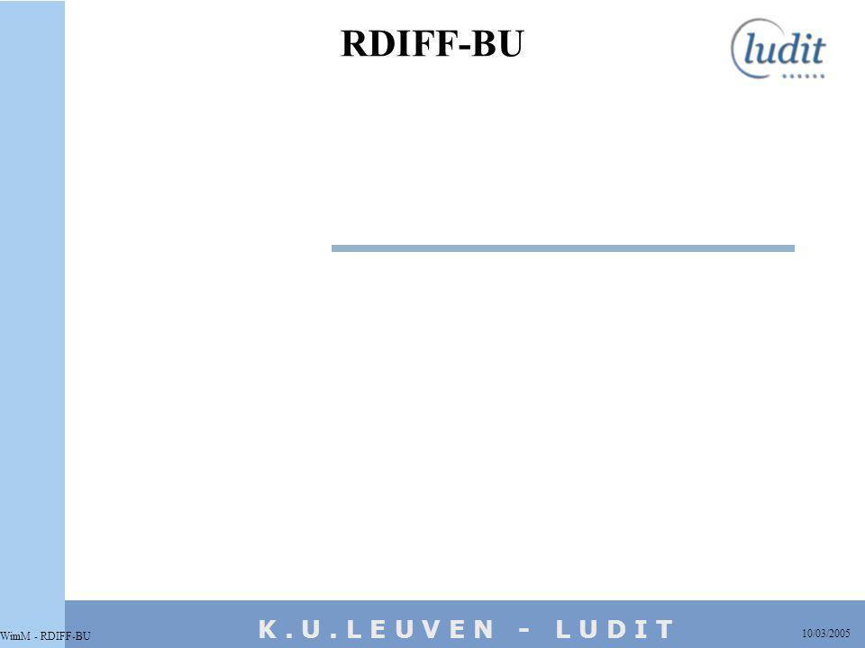 K. U. L E U V E N - L U D I T RDIFF-BU 10/03/2005 WimM - RDIFF-BU