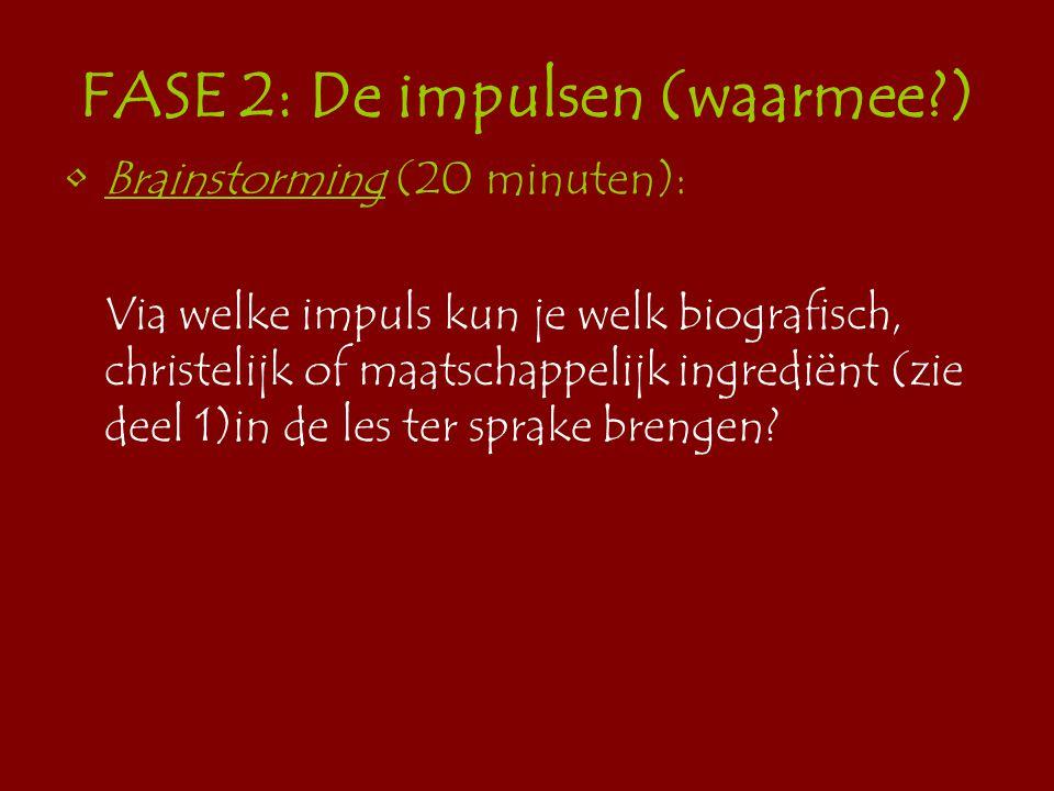 FASE 2: De impulsen (waarmee?) Brainstorming (20 minuten): Via welke impuls kun je welk biografisch, christelijk of maatschappelijk ingrediënt (zie deel 1)in de les ter sprake brengen?