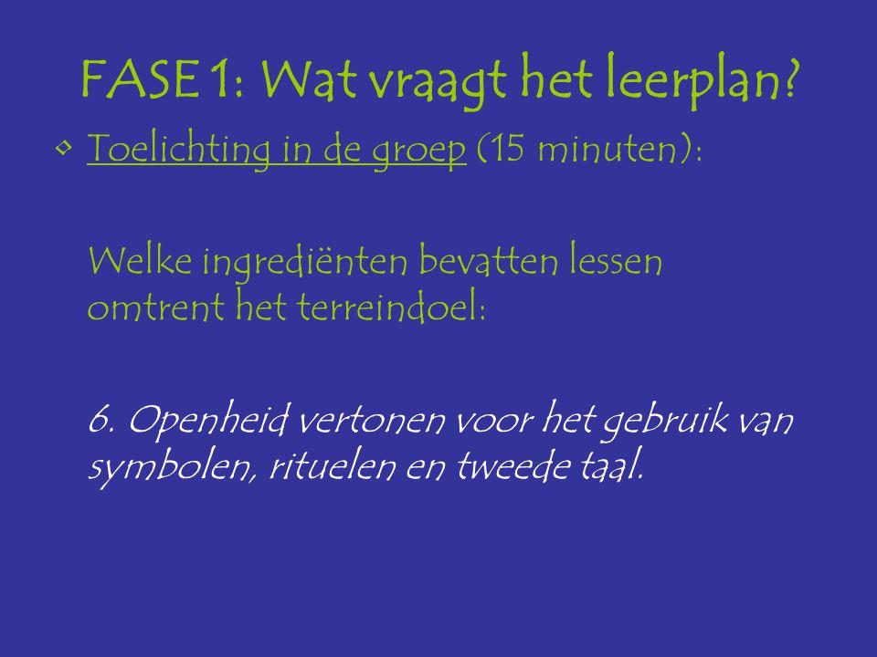 FASE 1: Wat vraagt het leerplan? Toelichting in de groep (15 minuten): Welke ingrediënten bevatten lessen omtrent het terreindoel: 6. Openheid vertone