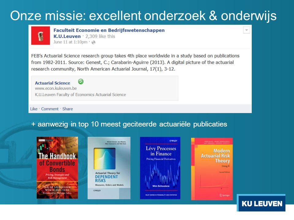 Onze missie: excellent onderzoek & onderwijs + aanwezig in top 10 meest geciteerde actuariële publicaties
