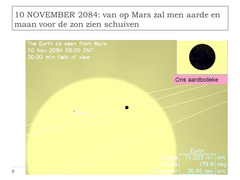 10 NOVEMBER 2084: van op Mars zal men aarde en maan voor de zon zien schuiven Ons aardbolleke
