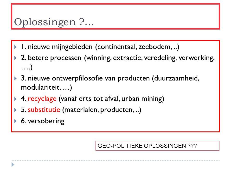 Oplossingen ?...  1. nieuwe mijngebieden (continentaal, zeebodem,..)  2. betere processen (winning, extractie, veredeling, verwerking, ….)  3. nieu