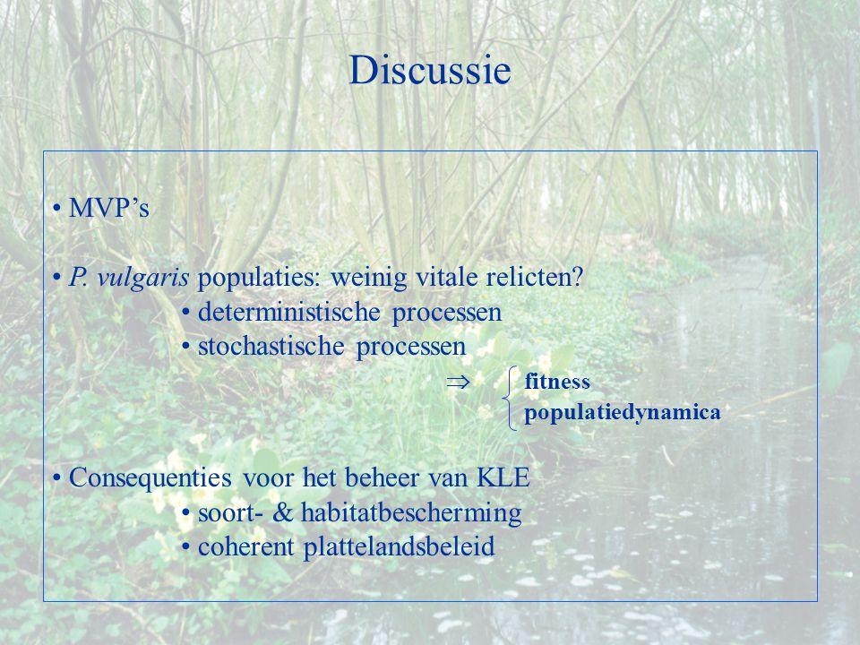 MVP's P. vulgaris populaties: weinig vitale relicten.