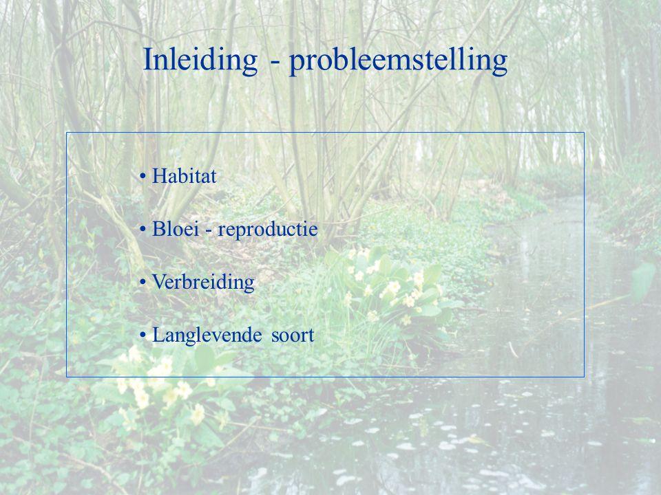 Habitat Bloei - reproductie Verbreiding Langlevende soort Inleiding - probleemstelling