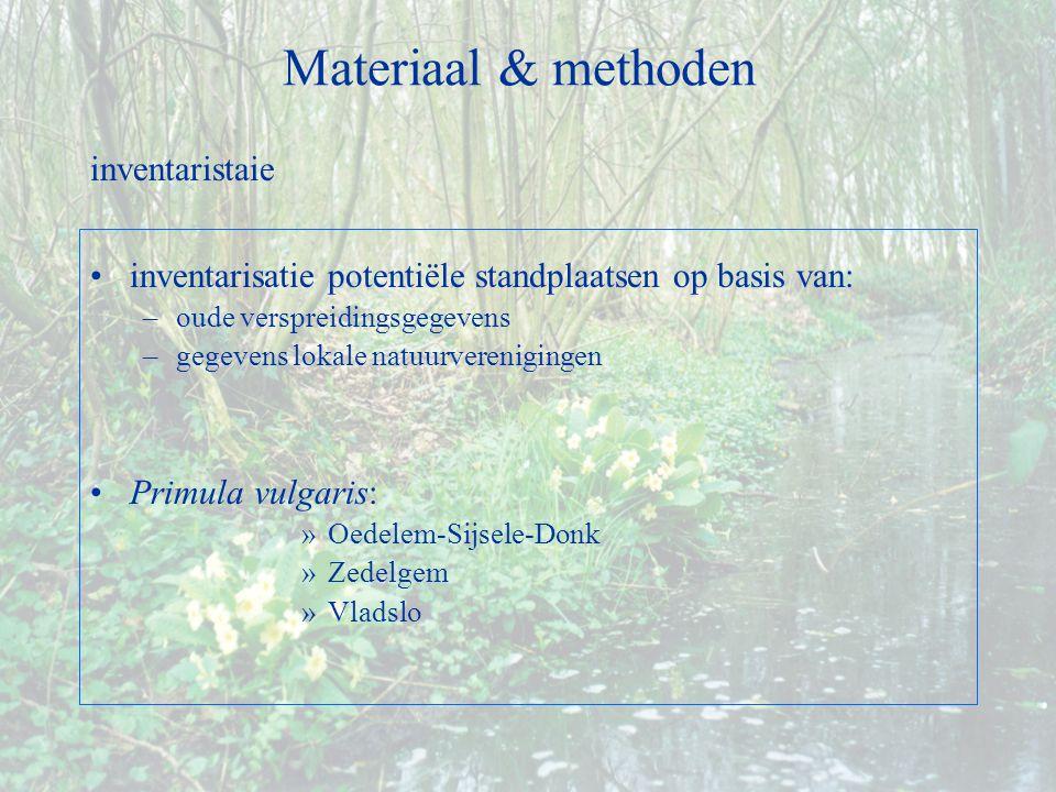 inventarisatie potentiële standplaatsen op basis van: –oude verspreidingsgegevens –gegevens lokale natuurverenigingen Primula vulgaris: »Oedelem-Sijsele-Donk »Zedelgem »Vladslo Materiaal & methoden inventaristaie