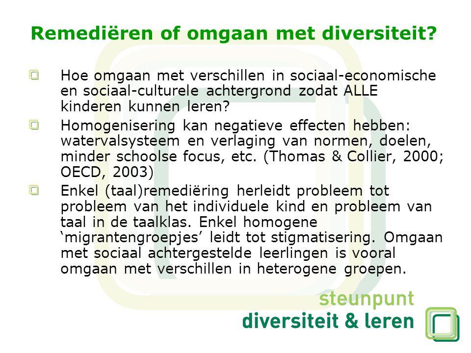 Remediëren of omgaan met diversiteit? Hoe omgaan met verschillen in sociaal-economische en sociaal-culturele achtergrond zodat ALLE kinderen kunnen le
