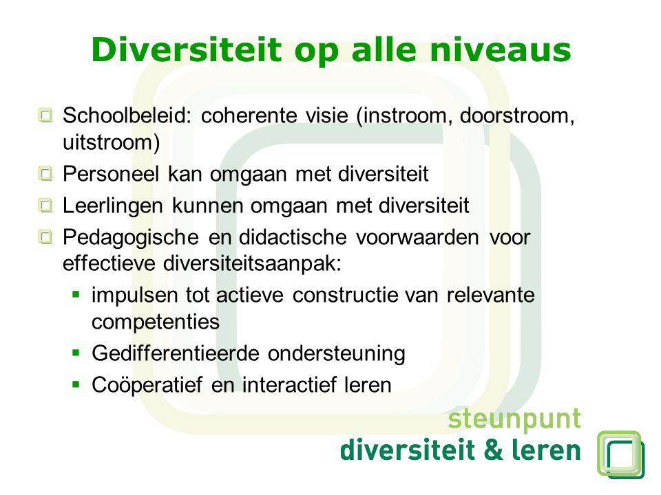 Diversiteit op alle niveaus Schoolbeleid: coherente visie (instroom, doorstroom, uitstroom) Personeel kan omgaan met diversiteit Leerlingen kunnen omg