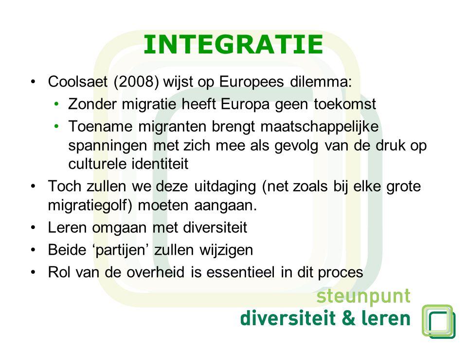 INTEGRATIE Coolsaet (2008) wijst op Europees dilemma: Zonder migratie heeft Europa geen toekomst Toename migranten brengt maatschappelijke spanningen