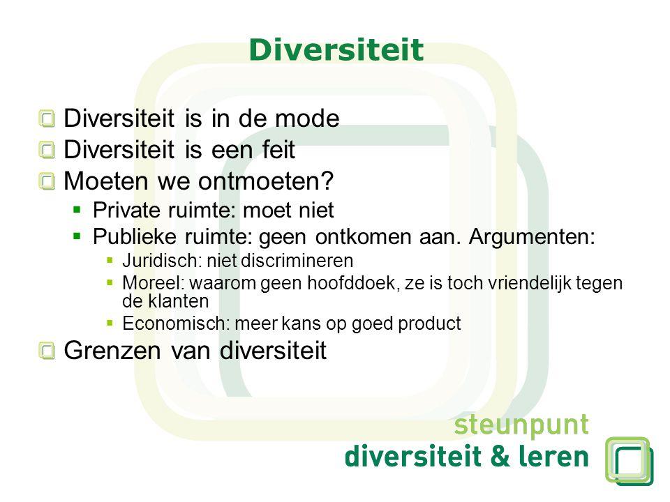 Diversiteit Diversiteit is in de mode Diversiteit is een feit Moeten we ontmoeten?  Private ruimte: moet niet  Publieke ruimte: geen ontkomen aan. A