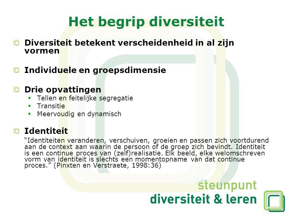 Diversiteit betekent verscheidenheid in al zijn vormen Individuele en groepsdimensie Drie opvattingen  Tellen en feitelijke segregatie  Transitie 
