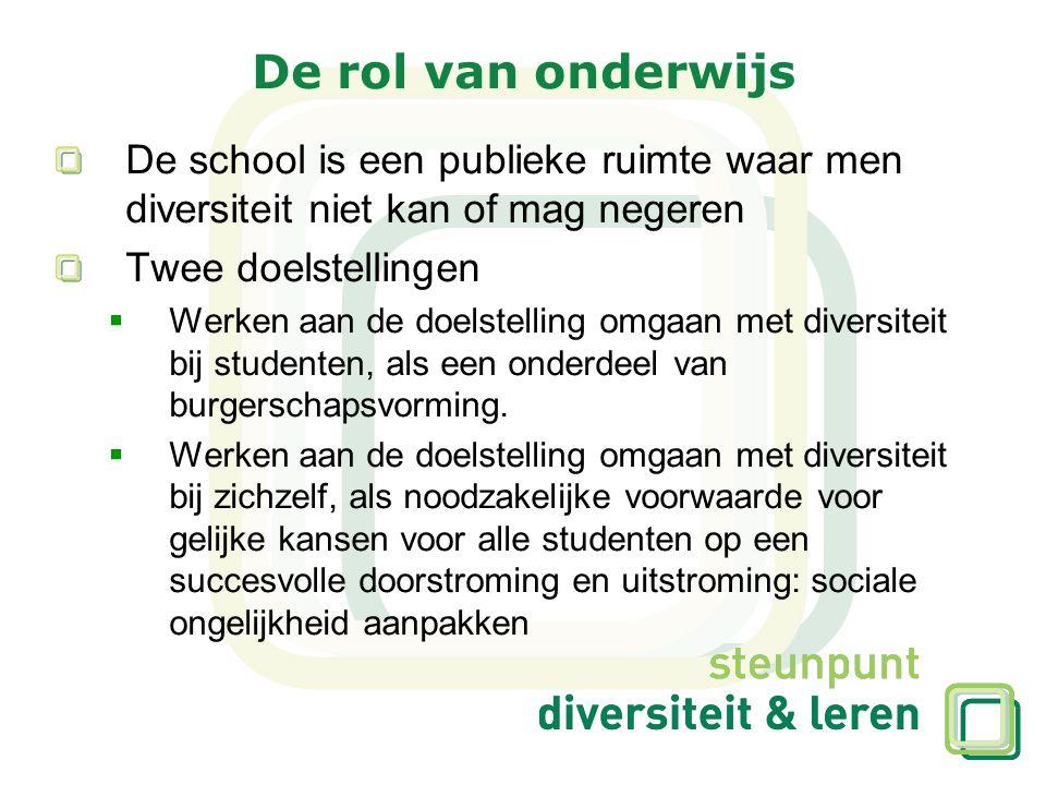 De rol van onderwijs De school is een publieke ruimte waar men diversiteit niet kan of mag negeren Twee doelstellingen  Werken aan de doelstelling om