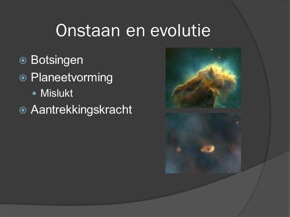 Onstaan en evolutie  Planeetvorming Mislukt  Aantrekkingskracht  Botsingen