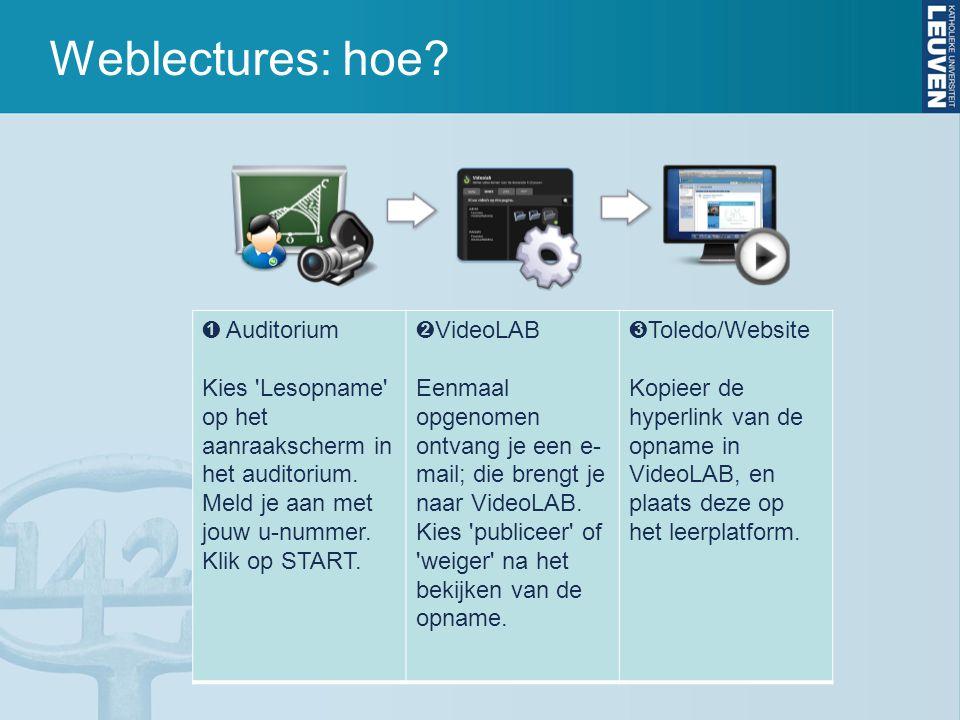 Weblectures: hoe? ➊ Auditorium Kies 'Lesopname' op het aanraakscherm in het auditorium. Meld je aan met jouw u-nummer. Klik op START. ➋ VideoLAB Eenma