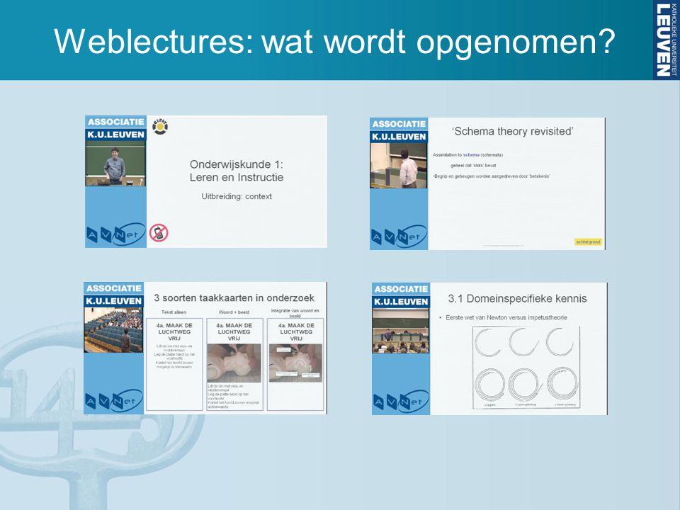 Weblectures: wat wordt opgenomen