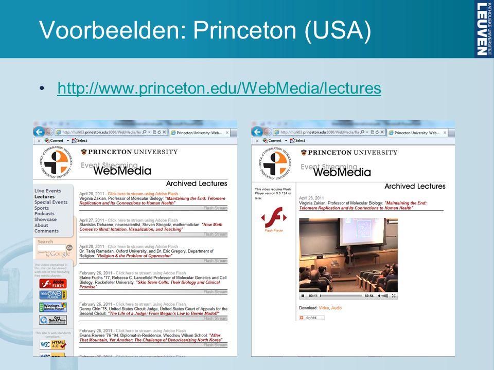 Voorbeelden: Princeton (USA) http://www.princeton.edu/WebMedia/lectures