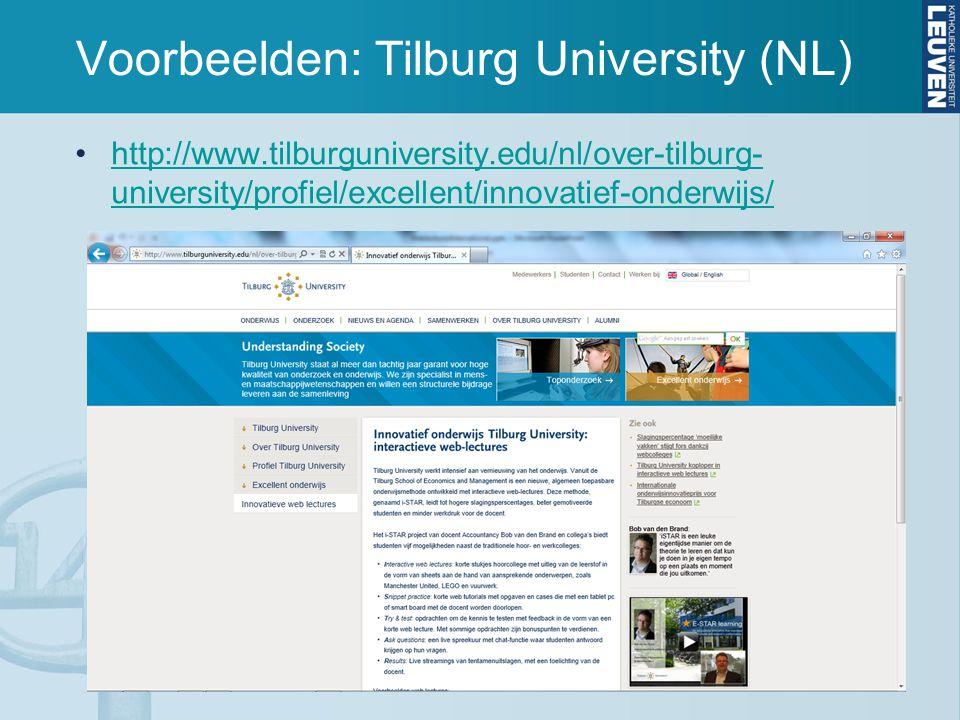 http://www.tilburguniversity.edu/nl/over-tilburg- university/profiel/excellent/innovatief-onderwijs/http://www.tilburguniversity.edu/nl/over-tilburg- university/profiel/excellent/innovatief-onderwijs/ Voorbeelden: Tilburg University (NL)