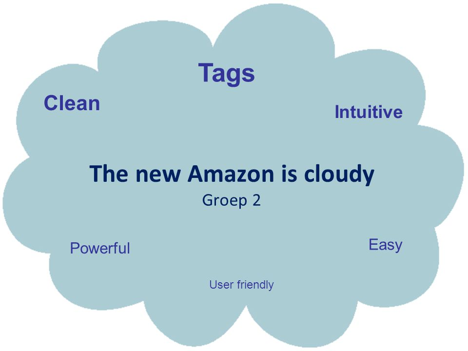 The new Amazon is cloudy Groep 2 Easy Intuitive Clean Powerful Tags User friendly
