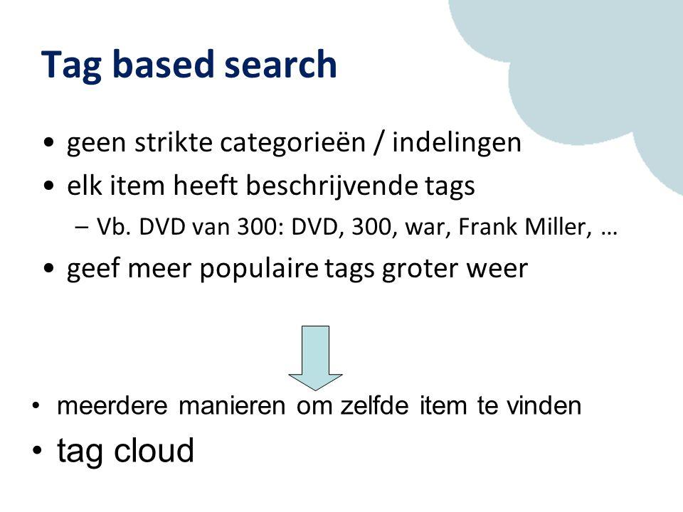 Tag based search geen strikte categorieën / indelingen elk item heeft beschrijvende tags –Vb.