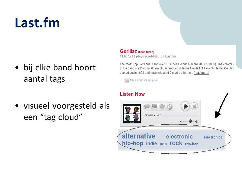 Last.fm bij elke band hoort aantal tags visueel voorgesteld als een tag cloud