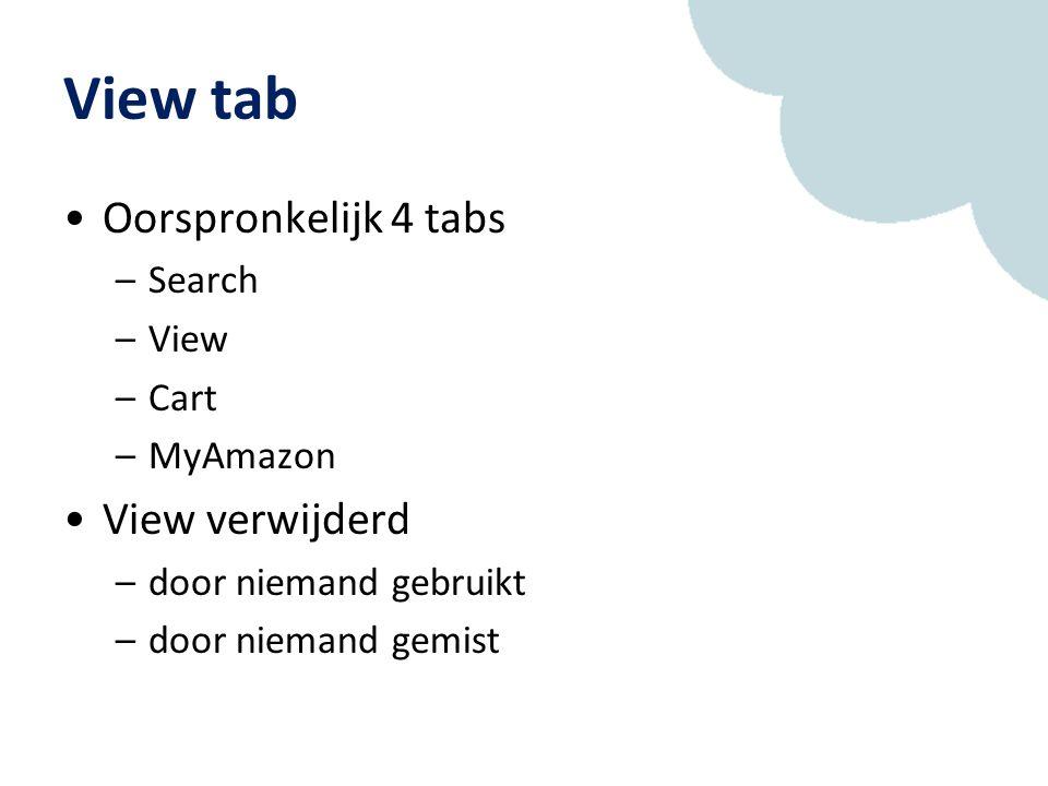 View tab Oorspronkelijk 4 tabs –Search –View –Cart –MyAmazon View verwijderd –door niemand gebruikt –door niemand gemist