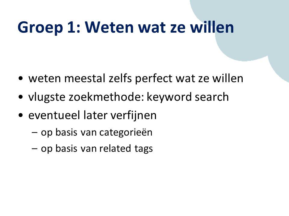 Groep 1: Weten wat ze willen weten meestal zelfs perfect wat ze willen vlugste zoekmethode: keyword search eventueel later verfijnen –op basis van categorieën –op basis van related tags