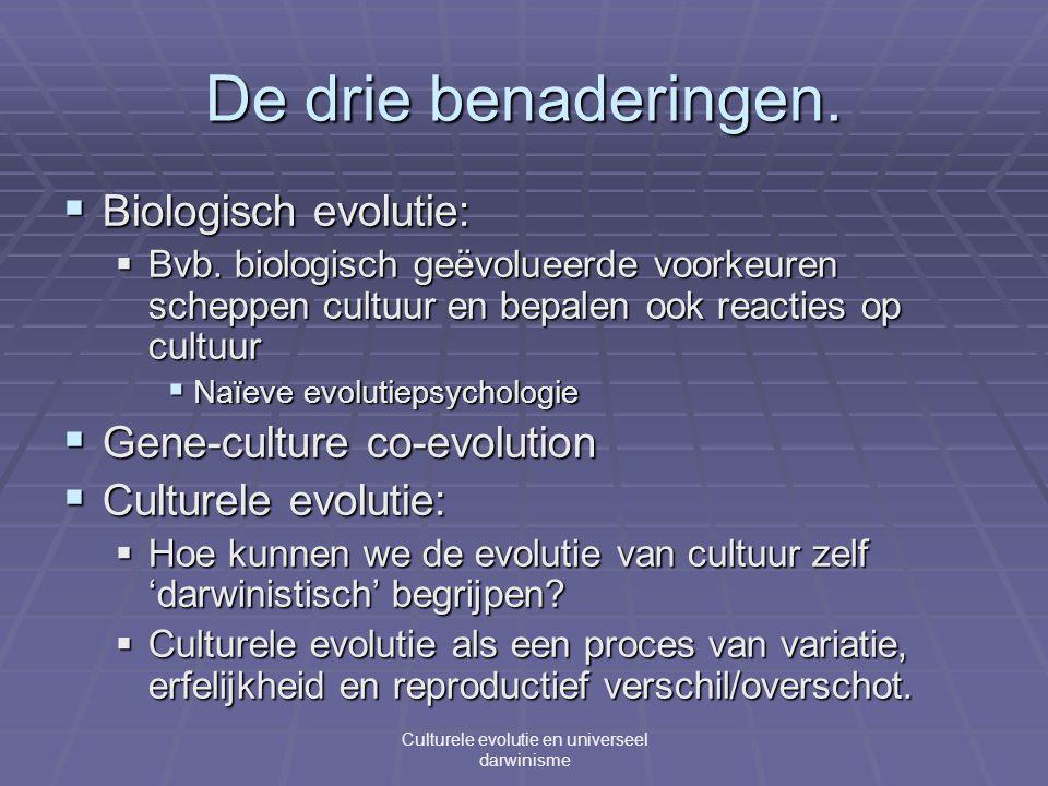De drie benaderingen.  Biologisch evolutie:  Bvb.