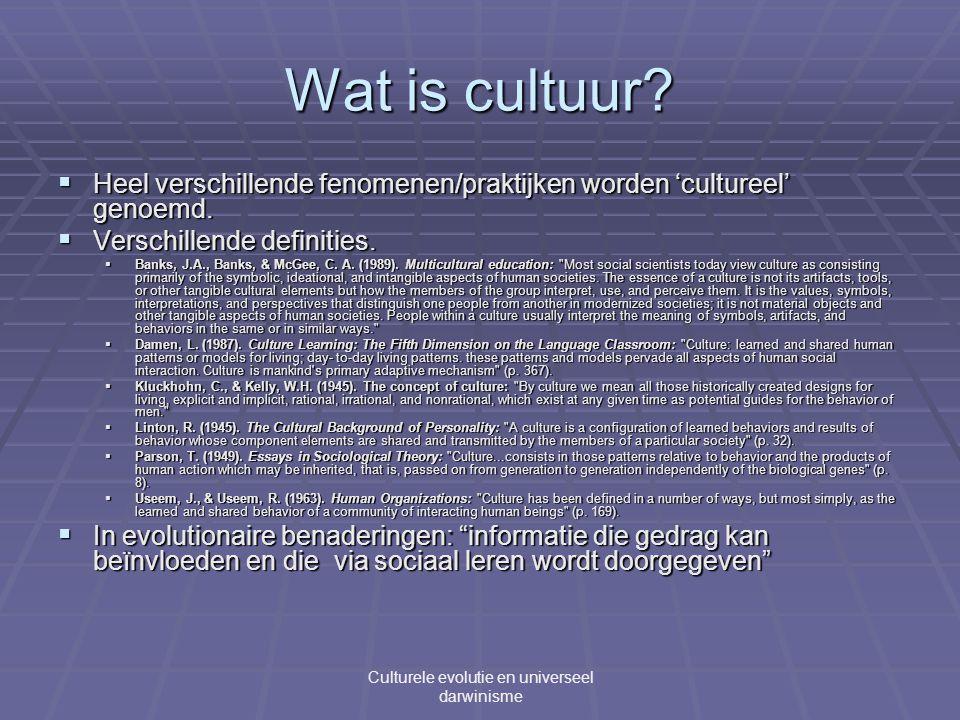 Wat is cultuur.  Heel verschillende fenomenen/praktijken worden 'cultureel' genoemd.